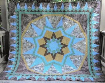 King Quilt - Guatemalan Tile Bed  Quilt - Custom Order