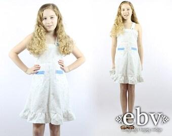 Kid's Vintage 70s White Floral Dress Kids Dress Girls Dress Kids Vintage Dress Children's Vintage Girls Dress Girls Hippie Dress