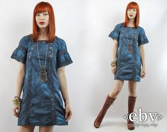 Hippie Dress Crochet Dress Dyed Dress Teal Dress Festival Dress Vintage 70s Teal Hand Dyed Crochet Bell Sleeve Boho Mini Dress XXS XS