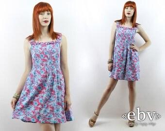 1970s Dress 70s Sundress Floral Mini Dress Vintage 70s Pink & Blue Floral Sundress S M L Floral Dress Mini Dress Summer Dress