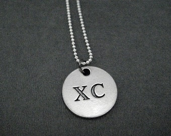 XC Round Pendant Necklace on Sterling Silver Ball Chain - 16, 18 or 20 inch - Pewter Charm XC on Sterling Silver Ball Chain - X Country