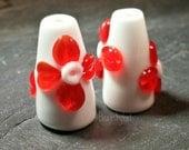 Floral Lampwork cone end cap pair, Handmade SRA CPteam FHFTeam