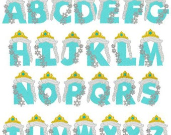 Frozen embroidery font  inspired  letters embroidery design instant download