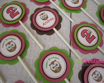 Look Whoo's 1 Cupcake Toppers - set of 12