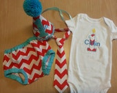 cake smash outfit boy, first birthday set in red and white chevron and aqua trims, diaper cover tie onesie and birthday hat set