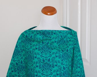 Reversible Nursing Cover with pocket-Green & Navy