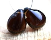 Dark Brown Teardrops, czech glass, large Briolettes, beads pair, matte - 15x20mm - 2Pc - DP54