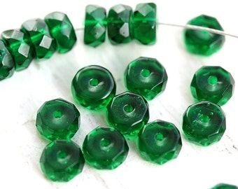 Emerald Green Rondelle beads, fire polished czech glass spacers - 6x3mm - 25Pc - 0226