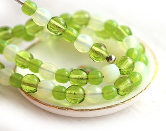 Green Yellow beads Mix, Czech glass round spacers, druk, small, melon green - 4-3mm - approx.100Pc - 0170