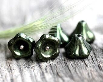 Puffy Flower beads - Dark Olivine, Green - czech glass beads, Bell flower, 11x13mm, large - 6Pc - 0337