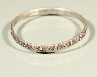 Antique Bangle Silver Plate Bangle Decor of Cherries Bangle French Art Nouveau Jewelry