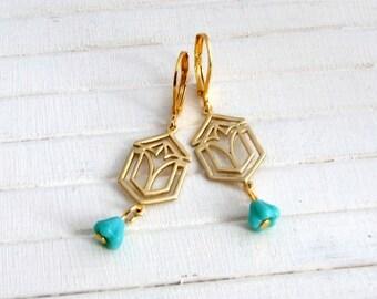 Art Deco Style Earrings .. brass dangle earrings, turquoise gold earrings, art deco jewellery, gold dangle earrings, turquoise flower