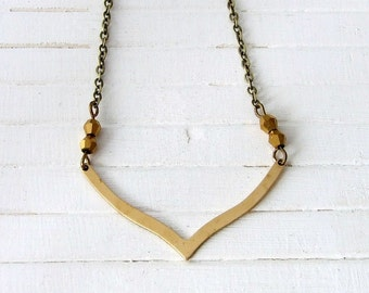 Chevron Necklace .. geometric necklace, brass necklace, v necklace, geometric pendant, minimal necklace
