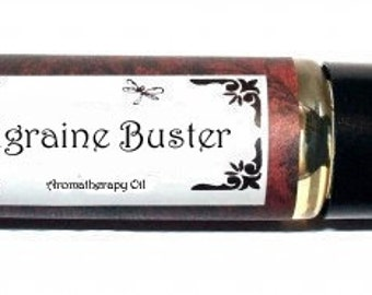 MIGRAINE BUSTER - Roll on Premium Essential Oil Blend - 1/3 oz  All Natural Treatment Oil