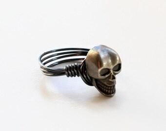 Skull Button Ring, Silver Skull Ring, Gun Metal Button Ring, Wire Wrapped Ring, Hematite Wire Ring, Metal Skull Ring, Grinning Skull Ring
