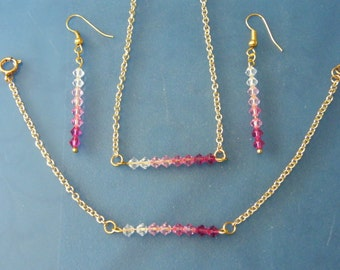 Crystal Jewelry Set! Pink Ombre', Swarovski Crystal, Gold Bar, Jewelry Set! OOAK! Birthday Gift, Anniversary Gift, Holiday Gift