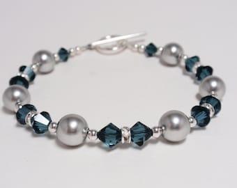 Montana Crystal & Lt Gray Pearl Swarovski Bracelet - Handmade Classic Swarovski Beaded Bracelet