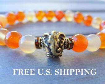 Creativity, Elephant bracelet, Carnelian, mala, Yoga bracelet, Energy bracelet, Healing bracelet, Reiki Charged, carnelian bracelet
