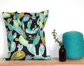 Everyday Cotton Linen Canvas Tote Bag with Unique Prickly Pear Cactus Textile Design