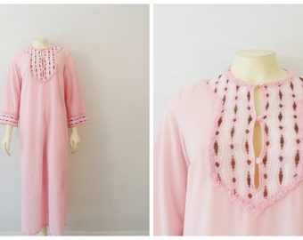 Vintage Nightgown Pretty in Pink White and Brown Embellished Neck & Cuffs Modern Size Medium