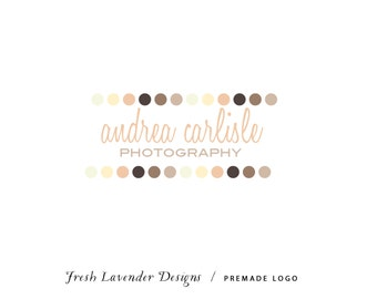 Custom Logo Personalized Premade Logo for Photographers and Small Crafty Businesses Multi Color Vintage Dots Shabby Chic with Script