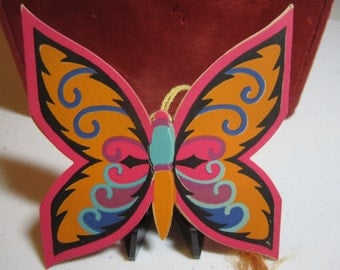 Gorgeous art deco 1920's-1930's die cut Gibson bridge tally card  vivid pinks, oranges deco butterfly hidden pop open to reveal score card
