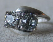 Vintage Sterling Silver Double Rhinestone Cocktail Ring