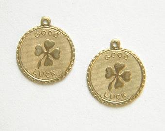 Raw Brass Four Leaf Clover Charm, Bracelet Charm, Stamping 20m x 22mm - 2 pcs. (r278)