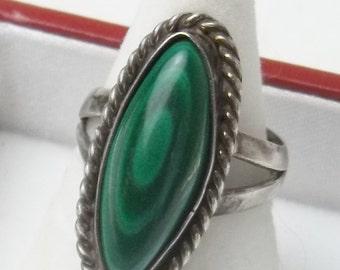 Vintage Sterling Silver Bezel Set Malachite Rope Design Fine Jewelry Ring on Etsy