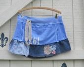 Boho skirt, mini skirt, beach cover skirt, Yoga skirt, Blue sweatshirt skirt, Rustic layering skirt, M-L upcycled clothing by Shaby Vintage