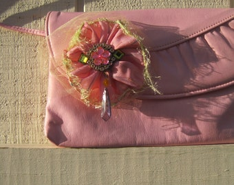 Pink purse, upcycled purse, pink vinyl clutch, romantic purse, shabby chic purse, hand made rose accent, bridal purse clutch pink,