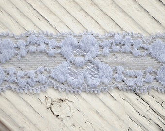 "Stretch Elastic Lace - GRAY - 1"" Lace Elastic - Skinny Lace Elastic - Elastic Lace by the Yard - 1"" Lace - Lace Trim - Lace for Garters"