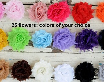"Mini Shabby Flowers - Small Fabric Flowers - 1.5"" Chiffon Frayed Flowers - Set of 25 - You Choose Colors - Wholesale Fabric Flower - MINI"
