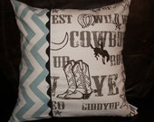 Pillow Cover- All Cowboy or Village Blue Chevron and Brown Cowboy Pillow Cover