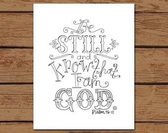 Psalm 46:10 Bible Verse Hand - drawn Art - Printed on 8x10 Matte Photo Paper