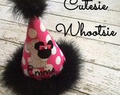 Minnie Mouse Inspired Birthday Hat - Applique Hot Pink Dot and Black Maribou Birthday Hat