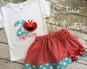 Elmo Sesame Streer Inspired - Aqua and Red Polka Dot - Applique Birthday Shirt and Twirl Skirt Set 12 18 2 3 4 5 6 8