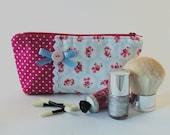 Pale Blue Floral Fabric Makeup Bag