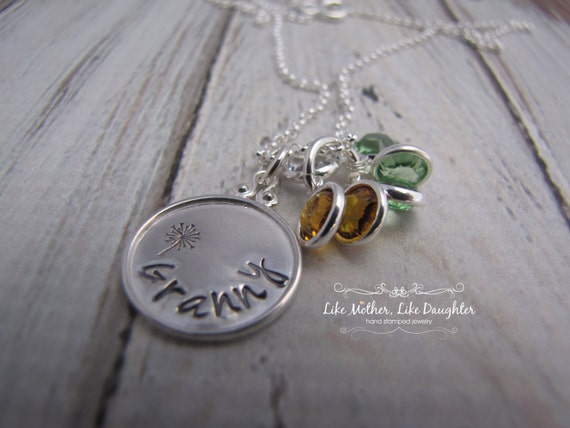 Personalized Jewelry - Hand Stamped Mommy Necklace - Hand Stamped Sterling Silver w/birthstones for Moms, Grandmas, Friends Valentine's Day