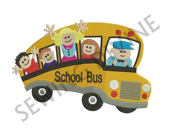 SCHOOL BUS Kids EMBROIDERY Fill Design 4x4 5x7 6x10 Instant Download Back To School