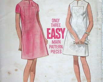 "Butterick Dress Pattern No 5173 Vintage 1960s Size 10 Bust 32 1/2"" Sleeveless or Short Sleeve Shift A Line Easy to Sew Back Zipper Mod"