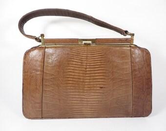 Vintage Lizard Leather Handbag - Soft Brown Leather Handbag