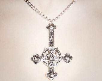 Hell Yeah Large Inverted Cross Pentagram Necklace