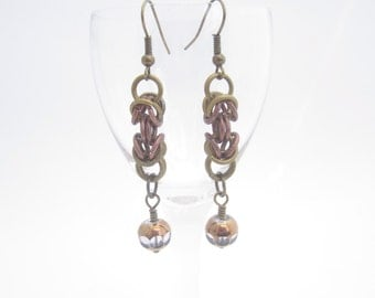 Brass and Copper Byzantine Chainmaille Earrings with Gilded Glass Beads