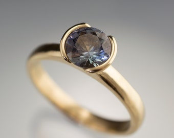 Large Round Tanzanite Half Bezel Solitaire Engagement Ring in 14k Yellow Gold - Ready to Ship size 5 to 8.5