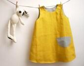 Reversible sleeveless yellow linen dress for little girl / summer A-Line retro classic dress / pinafore dress size 2 years