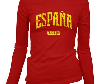 Women's Espana Long Sleeve Tee - LS Ladies Spain T-shirt - S M L XL 2x - 2 Colors