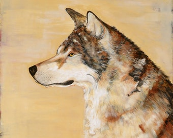 Painting, acrylic, wolf, warm erath tones, soft creams, ochers, browns and golds,