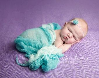 Aqua Flower Headband...Photography Prop Set...Newborn Photo Props...Baby Girl Headband...Newborn Wraps...Flower Headband...Newborn