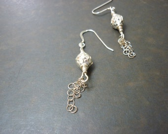dramatic silver dangle earrings